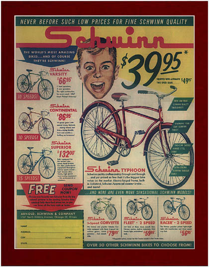 Large 1960 S Schwinn Varsity 10 Speed Ad